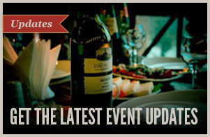 Picture of wine bottle and settings on table with Get The Latest Event Updates text.