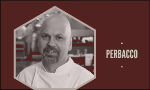 Graphic showing Perbacco chef and restaurant name.