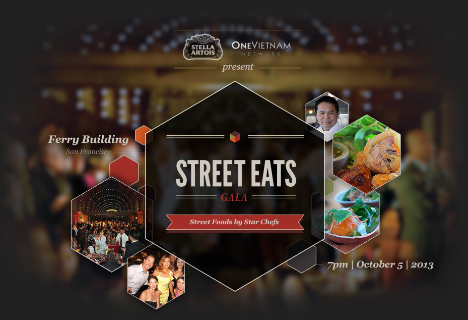OneVietnam & Stella Artois Present Street Eats 2013 graphic displaying mini food and people Pics.